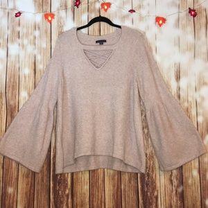 Plus XXL Soft Bell Sleeved Criss Cross Sweater